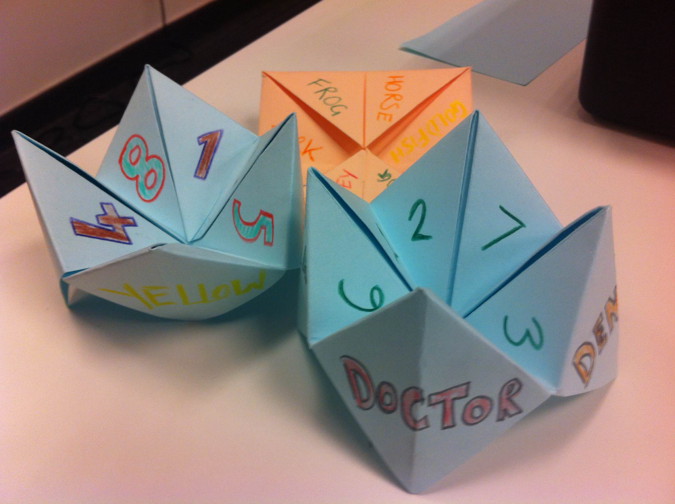 Vocabulary review fortune tellers elt planning i first thought the students could make these for their original purpose so i put colours on the front and numbers in the middle then i realised theyd be jeuxipadfo Gallery