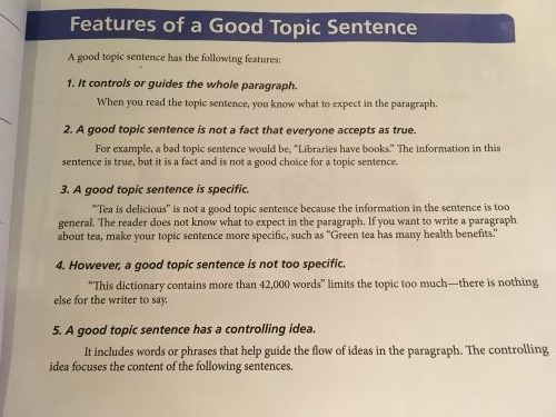what makes a good topic sentence